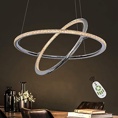ZMH LED Pendelleuchte Modern Dimmbar Hängelampe in chrom mit Fernbedienung Pendellampe Drehbarer Ring 37W Hängeleuchte Esstischlampe 150cm höhenverstellbar für Wohnzimmer, Schlafzimmer und Küche