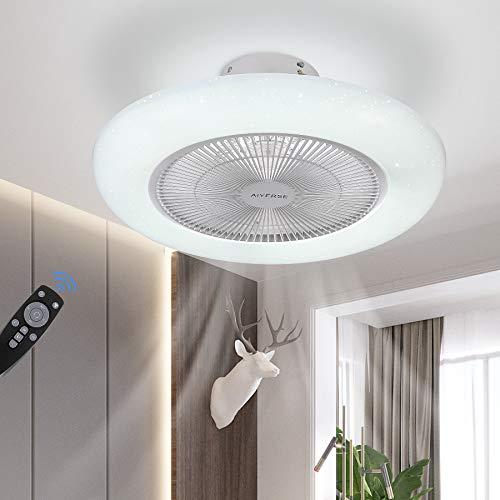 Modern LED Ceiling Light with Fan, Adjustable Wind Speed, Dimmable Remote Control, 80W Modern LED Ceiling Light, Restaurant Bedroom Living Room, 3500-6500K, Ø 55 cm