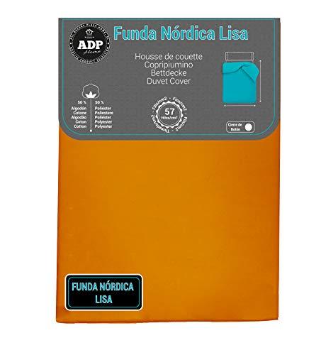ADP Home - Funda nórdica Lisa, Calidad 144Hilos, 17 Hermosos Colores, Cama de 90 cm - Color: Naranja
