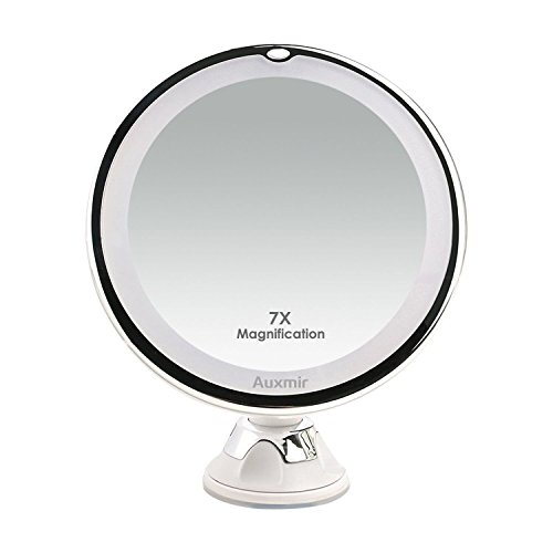 Auxmir Makeup Mirror with 7X Magnifying, LED Lighted Cosmetic Mirror...