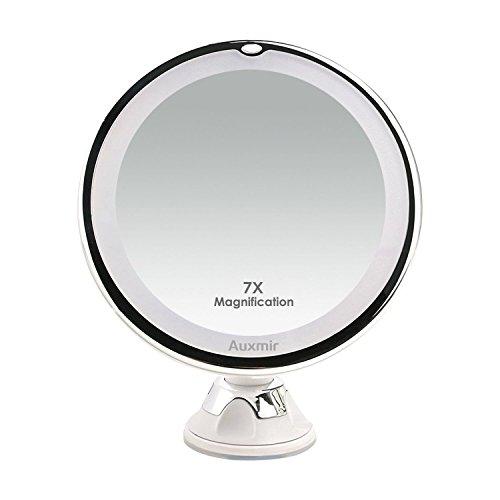 Auxmir Kosmetikspiegel LED Beleuchtet mit 7X Vergrößerung, Saugnapf und 2 Helligkeitsstufen, Makeup Spiegel Schminkspiegel mit Blendfreier Beleuchtung für Zuhause und Unterwegs
