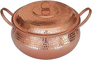 كسرولة سيراميك غير لاصقة، وعاء شوربة نحاسي يدوي الصنع مع غطاء أواني طهي حريق مفتوح ، كسرولة طبخ سيراميك ، (اللون: 2.1 لتر)