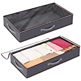 Lifewit Under Bed Storage Containers Clothes Organizers with Durable Fabric, Sturdy Structure, Reinforced Handle, See-Through Window for Clothing, Blankets, Sweaters, Toys, Shoes, Grey, 2 Pack