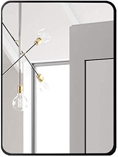 Espelho retangular montado na parede, moldura de metal/espelho para pendurar no banheiro/espelho decorativo de maquiagem grande para entradas, banheiros, salas de estar e muito mais-70 x 90 cm _ preto