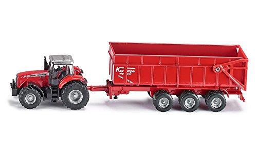 SIKU 1844, Massey Ferguson Traktor mit Anhänger, 1:87, Metall/Kunststoff, Rot, Kippbarer Anhänger