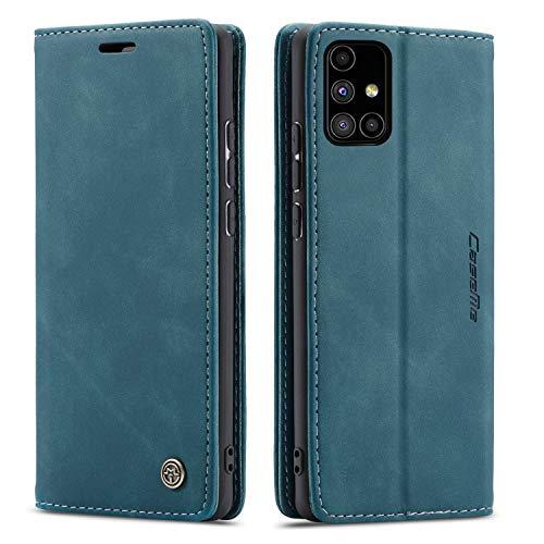 FMPC Handyhülle für Samsung Galaxy M51 Premium Lederhülle PU Flip Magnet Hülle Wallet Klapphülle Silikon Bumper Schutzhülle für Samsung Galaxy M51 Handytasche - Blaugrün