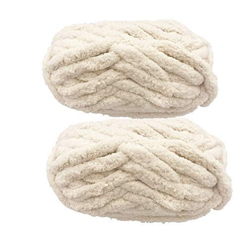 Chunky Chenille Yarn for Blanket, Super Soft Thick Fluffy Jumbo Chunky Chenille-Style Polyester Yarn for Home Décor Projects,Arm Knitting (Beige, 500g / 14 oz / 55 Yards)