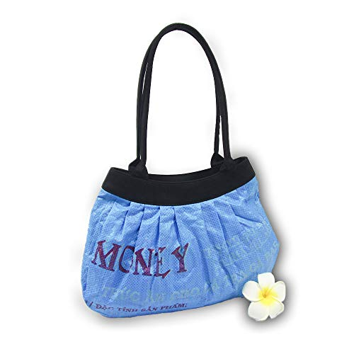 Upcycling Handtasche 'Fisch Blau' - Fair Trade Tasche aus Fischfuttersack - Design Fairtrade Recycling Beutel