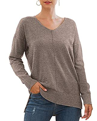 Jouica Women's Winter Batwing Sleeve Loose Pullover Sweater Knit Jumper,Brown,Large