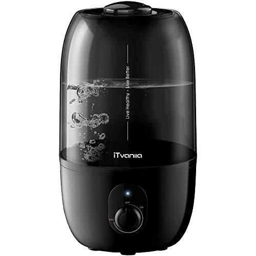 iTvanila 2.7L Humidificateur d'Air bébé, Humidificateur Ultrasonique Silencieux, 28 Heures Temps de Fonctionnement, sans L'eau Arrêt Automatique, pour Bureau/Maison/Chambre- Noir