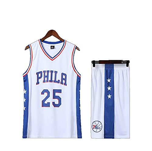 HAZYJT Camiseta para Hombre, Philadelphia 76ers # 25 Ben Simmons, Camiseta de Baloncesto Transpirable, Camiseta clásica y Traje de pantalón Corto