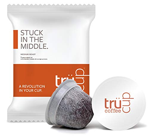 trücup Low Acid Coffee- Stuck in the Middle Medium Roast- Biodegradable 48 Count Coffee Pods- Smooth, Mellow Single Serve Can Be Gentle on the Stomach