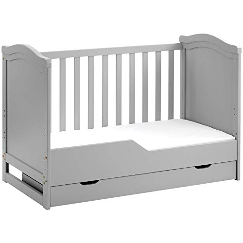 jeerbly Solid Wooden Cot Bed, Bed BSEN716-certified Convertible Toddler Bed with Storage Drawer and Foam Mattress Baby Bed Toddler Safety Rails Crib Toddler Furniture,Grey