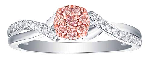 Smiling Rocks 0.28Ct Lab Grown Pink Color Diamond with G-H/VS1 Diamond Engagement Ring, 10K White Gold, Size 7 (0.28 Ct Pink Diamond)