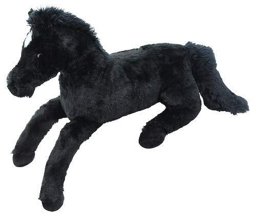 Plüschpferd Fohlen XXL schwarz liegend, 90cm, Kuschelpferd aus Plüsch für Kinder zum kuscheln und knuddeln
