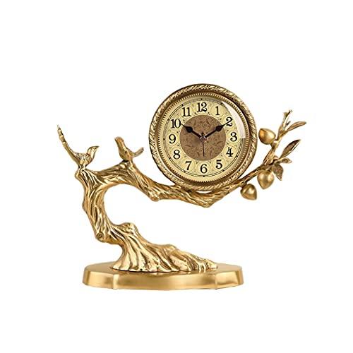 Tingting1992 Alarm Clock Brass Desk Clock New Chinese Style Desk Clock Desktop Decoration Ornaments Home Bedroom Bedside Clock 11.02 Inches Desk Clock