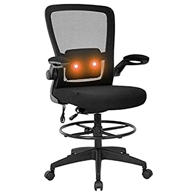 Drafting Chair Tall Office Chair Adjustable Height with Lumbar Support Flip Up Arms Footrest Task Mesh Desk Chair Massage Computer Chair Drafting Stool for Standing Desk by BestOffice