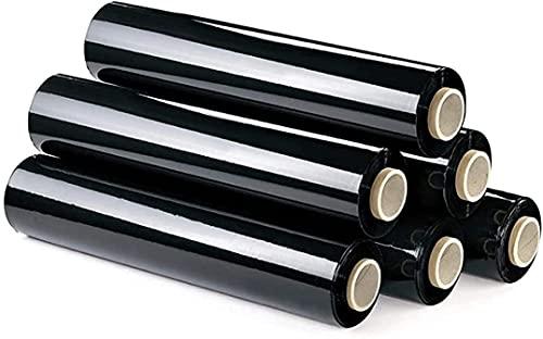 Film Transparente o Negro para Embalar de 50 cm x 200 Metros de Longitud – Rollo de Film Elástico Manual para Embalaje Industrial (Negro, 6 Rollos)