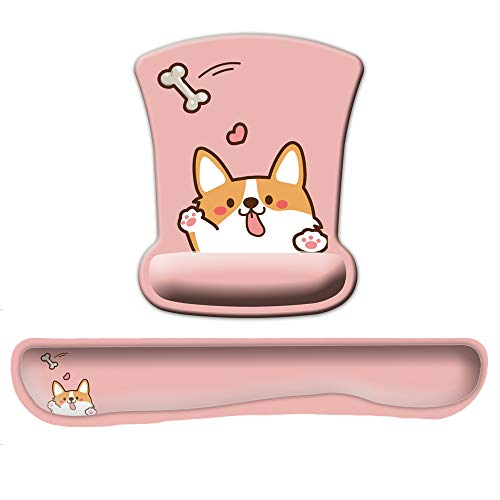 Funny Corgi Heart Bone Mouse Pad with Wrist and Keyboard Support Gel Set for Women Kids Laptop Computer Office Home
