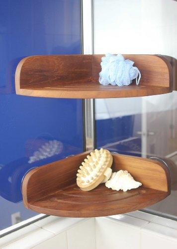 AquaTeak The Original Kai Corner Teak Shower Shelf