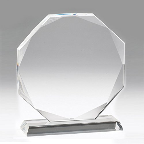 Customizable 6-1/4 Inch Octagon Shape Optical Crystal Award with Personalization