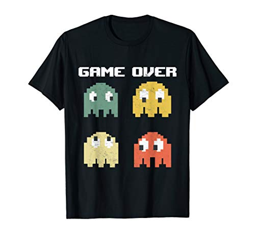 Pac-Man Ghosts Game Over T-shirt for Adults or Kids, 4 color choices
