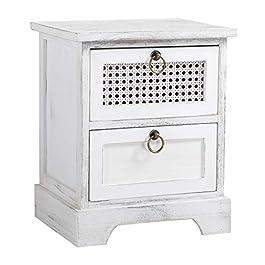 IDIMEX Table de Chevet Irma Petite Commode de Nuit avec 2 tiroirs, en Bois de Paulownia Blanc Style Shabby Chic Vintage…