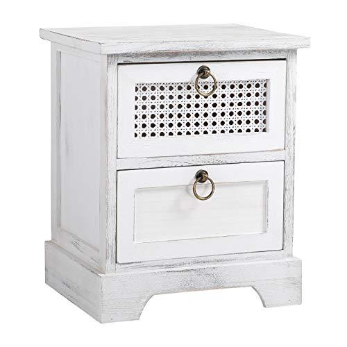 CARO-Möbel Nachttisch IRMA Nachtschrank Nachtkonsole mit 2 Schubladen weiß Shabby Chic Vintage Design