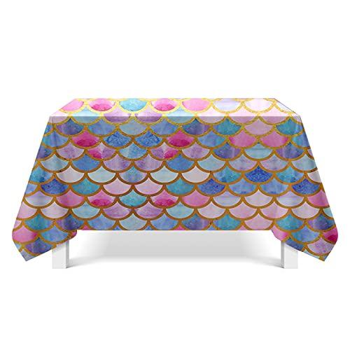XGguo Mantel de Mesa Paño de Algodón y Lino Antimanchas, Arte de Escala de pez de Color