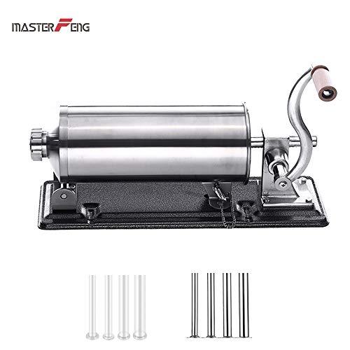 Wurst Füllung Maker - Selbstgemachtes Edelstahlfleisch, Sausage Stuffer Wurstmaschine Wurstspritze Wurstpresse das Küchenmaschinenaufsatz füllt, mit 8 Füllröhrchen für (6 Pfund horizontal)