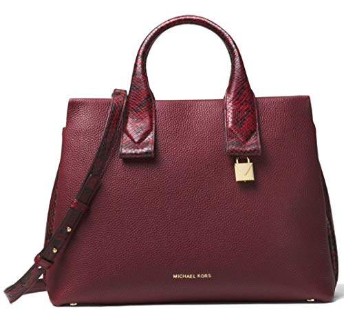 Oxblood pebbled leather. Top-zip closure ; Gold-tone hardware. Interior : 1 Back zip pocket, 2 back slip pockets, 4 front slip pockets. Exterior features allover pebbled leather construction with snakeskin embossed detail Adjustable and optional shou...