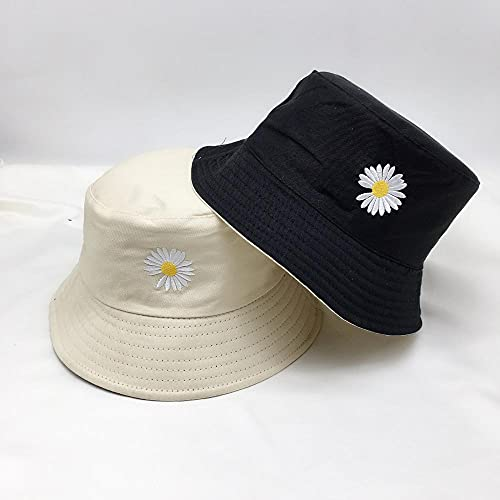 AOQW Fisherman's Hat Small Daisy Men and Women Fishermen Cap Summer Hats Travel Sun-Shade Protection Beach Caps Fashion Sun Hats Fishing Bucket Hat-Beige_and_Black_One_Size