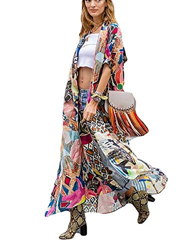 Bsubseach Women Loose Print Short Sleeve Bikini Swimsuit Cover Up Swimwear Kimono Cardigan Long Blouses