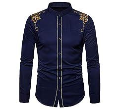 Yvelands Camisa de Bordado de los Hombres, Hombres cómodos ...