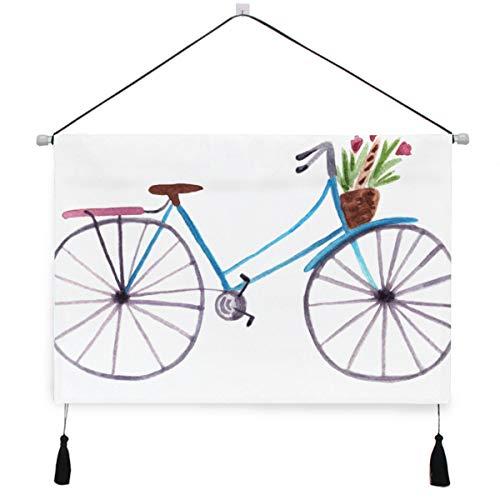 WDDHOME - Tapiz decorativo para pared con cesta de flores (45 x 62 cm), diseño de bicicleta