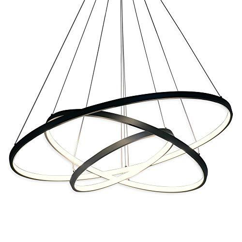 Hängeleuchte LED Modern Acryl Pendelleuchte Höhenverstellbar 3 Ring Hängelampe Kreative jugendstil Kronleuchter, für Wohnzimmer Küche Büro Lampe (108W Drei Ringe Schwarz)