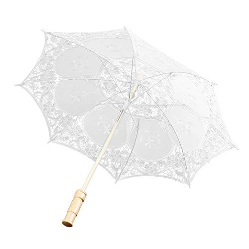Longzhou Paraguas de Boda, Paraguas de Encaje Nupcial de Estilo Occidental, sombrilla, Banquete, Escenario, fotografía, Accesorios, Suministros de Boda(Tuba Blanca)