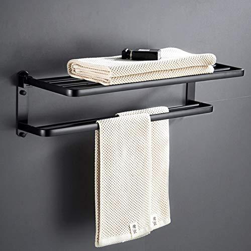 Sonrisa Toalleros de Barra para Baño, Negro Aluminio Toallero sin Taladro, Plegable 90° Estante de Baño de Pared para Cocina e Ducha,Impermeable Adhesivos Toallero de Barra
