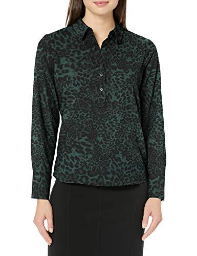 Lark & Ro Women's Collared Blouse Popover dresses, Mehrfarbig (Olive Leopard), US 12 (EU L)
