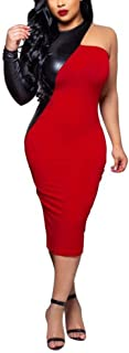 red leather midi dress