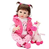 Aori Reborn Baby Dolls 22 Inch Weighted Reborn Girl Doll with Pink Clothes and Deer Toy Accessories
