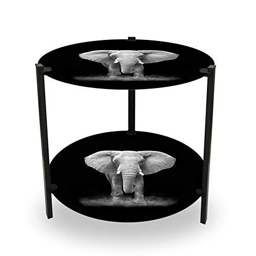 HTI-Line Beistelltisch Duo Elefant Ablagetisch Rund Kleiner Couchtisch Teetisch Telefontisch Nachttisch für Schlafzimmer 2 Ablagen Elefant