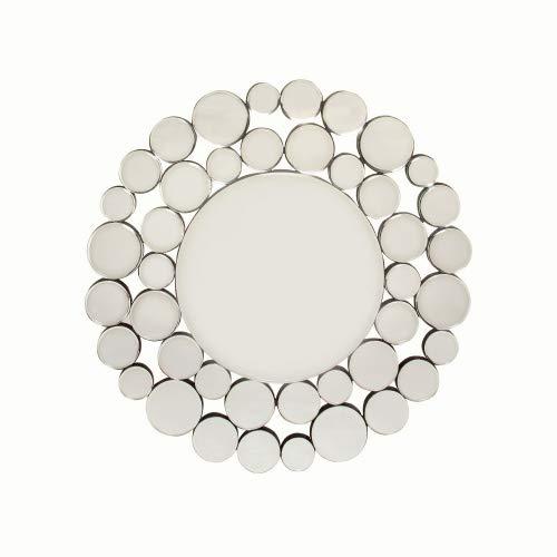 Spiegel Madiola Ø80cm, großer, runder XXL Wandspiegel mit Silberrahmen, moderner Design Dekospiegel, Silber (HxBxT) 80x80x2cm