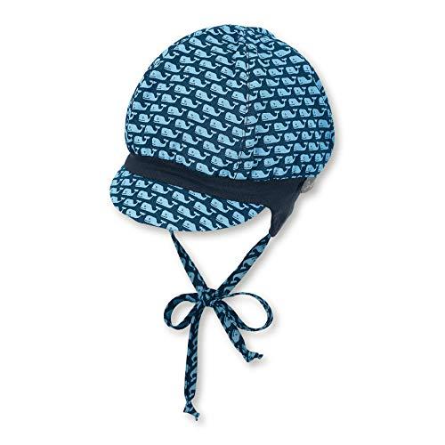 Sterntaler Ballonmütze für Jungen mit Bindebändern, Ohrenklappen und Muster mit Wal-Motiven, Baumwolle, Alter: 9-12 Monate, Größe: 47, Blau (Marine)