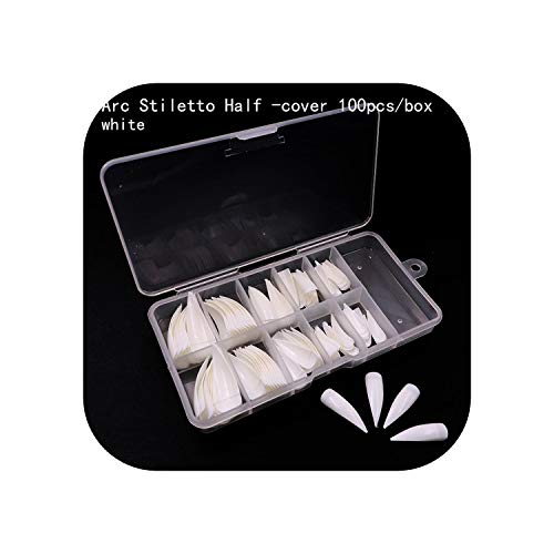 Kid Fake Nails | 10 tamaños Uñas largas con garras Media cubierta Uñas postizas falsas Manicura Acrílico Gel UV 10 Tamaños 3 colores Transparente/Natural/Blanco-CAJA-blanco 100pcs-