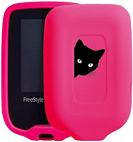 New! Premium Silicone Case with Cartoon Animal Patterns for Continuous Glucose Monitor-Freestyle Libre/Freestyle Libre 2 (cat/hotpink)