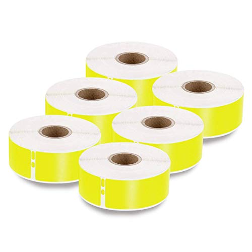 enKo [6 Rolls, 2100 Labels] Address, Shipping & Barcode Labels 30252 - Yellow (1-1/8' x 3-1/2') Compatible for Dymo LabelWriter