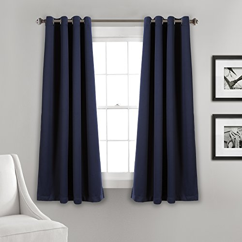 "Lush Decor Curtains-Grommet Panel with Insulated Blackout Lining, 63"" L Pair, Navy"