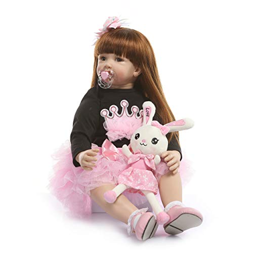 Zero Pam Binxing Toys Reborn Baby Dolls Toddler Realistic Girl 24 Inch 60cm Real Looking Baby Silicone Limbs and Head Soft Cloth Weighted Body 6-12M Bebe Feel with Beautiful Princess Dress (1906)