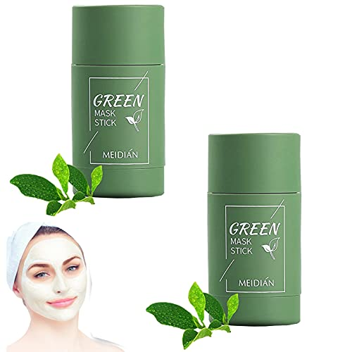 HZXY 2Pcs Eggplant/Green Tea Stick Mask, Cleansing Facial Mask Stick, Purifying Clay Stick Mask, Deep Cleansing Pores, Improving Skin Texture, Controlling Oil, and Removing Blackheads (A)